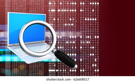 abstract 3d red background with laptop pc magnify glass and hexadecimal code