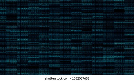 Abstract 3d render background. Binary wall with random zero and one digits. Random brightness of code segments.