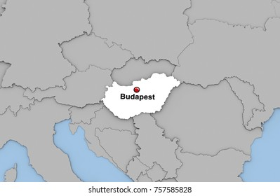 Hungary map pin images stock photos vectors shutterstock abstract 3d render of map of hungary highlighted in white color and location of the capital gumiabroncs Gallery
