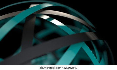 Abstract 3d render of sphere  with blue and black rings, futuristic concept, 3d rendering