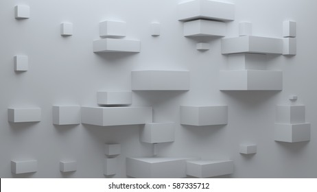 Abstract 3d rendering background with rectangular shapes. Light is set on top, shadows drops to down. Random size of element. Low contrast corporate background.