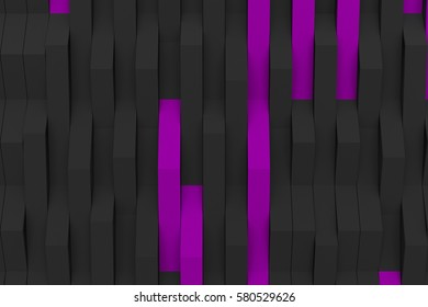 Abstract 3D rendering of black matte plastic waves with colored elements. Bended stripes background. Reflective surface pattern. 3D render illustration