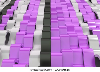 Abstract 3D rendering of black, white and violet sine waves. Bended stripes background. Reflective surface pattern. 3D render illustration