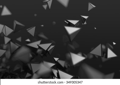 Abstract 3d rendering of chaotic shapes. Dark background with pyramids in empty space.