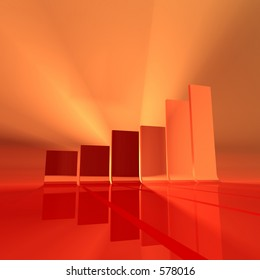 abstract 3d rendering of a chart in foggy atmosphere