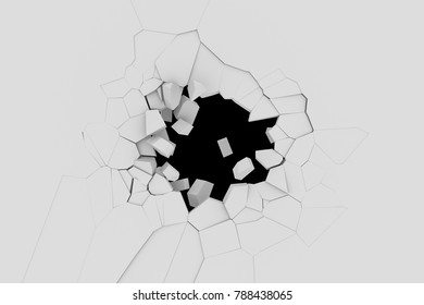 Abstract 3d rendering of cracked surface. Background with broken shape. Wall destruction. Explosion with debris. Explosion broken white wall with cracked hole