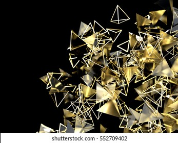Abstract 3d rendering of gold pyramid. Futuristic background