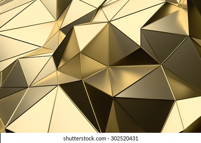 Abstract 3d rendering of gold surface. Futuristic background with lines and low poly shape.