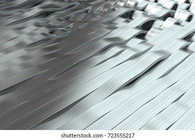 Abstract 3D rendering of metal sine waves. Bended stripes background. Reflective surface pattern. 3D render illustration