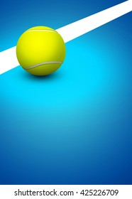 Abstract 3D rendering tennis invitation advert background with empty space
