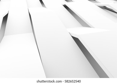 Abstract 3D rendering of white matte plastic waves. Bended stripes background. Reflective surface pattern. 3D render illustration