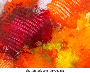 Abstract acrylic hand painted background, wallpaper, texture, close-up fragment of acrylic painting on canvas with brush strokes.