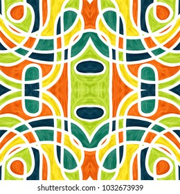 Abstract acrylic paint seamless style  : Vintage tile colors.