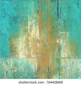 Abstract acrylic painting in turquoise and ocher colors.