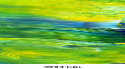 Abstract acrylic painting for use as background, texture, design element. Modern art in Mixed colours of green, blue, yellow.