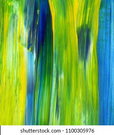 Abstract acrylic painting for use as texture, background, graphic design. Mixed colours of green, blue and yellow.