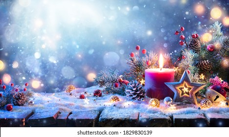 Abstract Advent Background - Christmas Decoration With Ornament And Defocused Lights
