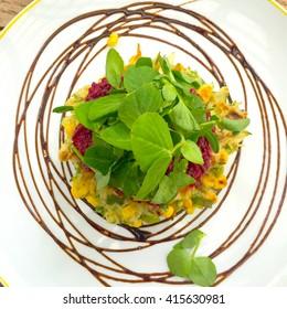 Abstract Aerial View Vegetarian Corncakes Vignette