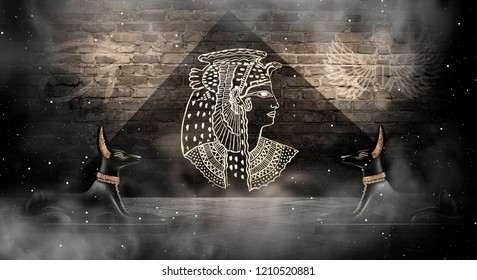 Abstract ancient Egyptian background, Cleopatra. Dark background.