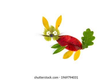 abstract animal made of leaf, art project for kids, autumn or summer natural craft ideas