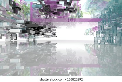 Abstract architectural background of colored glass rectangles