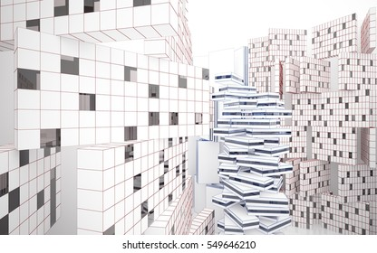 Abstract architectural background drawing of modern buildings with blue and red lines. 3D illustration and rendering