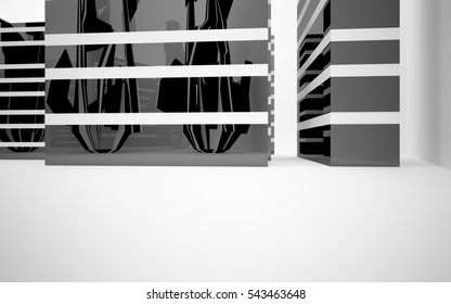 Abstract architectural background whith black and white  lines . 3D illustration and rendering