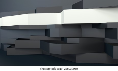 abstract architectural composition with broken black and white panels in perspective