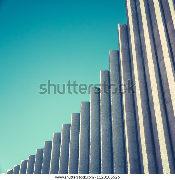Abstract Architectural Detail Of A White Concrete Modernist Church