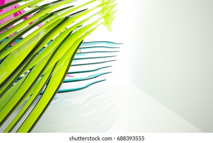 abstract architectural interior with colored smooth sculpture. 3D illustration and rendering