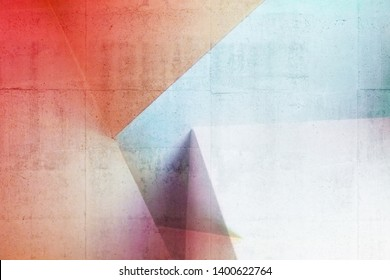Abstract architectural pattern, colorful interior design with bright illuminated corners. Background photo with multi exposure effect and concrete texture