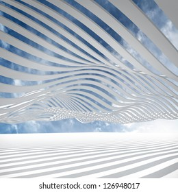 Abstract architecture 3d background with white waved stripes against the cloudy sky