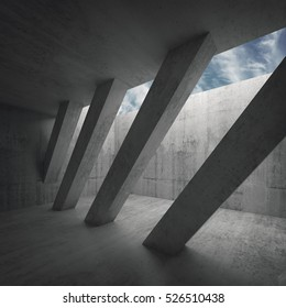 Abstract architecture background, empty concrete room interior with diagonal columns and cloudy sky outside, 3d illustration