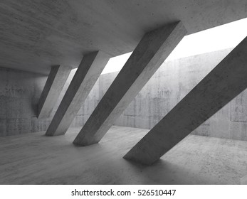 Abstract architecture background, empty interior with diagonal concrete columns and white ceiling window, 3d illustration