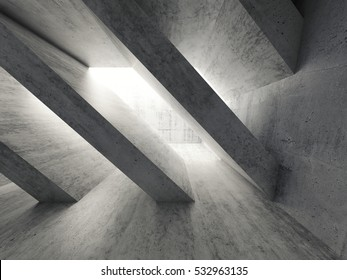 Abstract architecture background, empty rough concrete interior, diagonal columns installation. 3d illustration