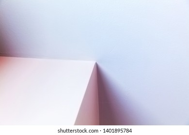 Abstract architecture background, interior design with colorful illuminated corner shape