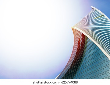 abstract architecture background. Skyscraper with sunlight.