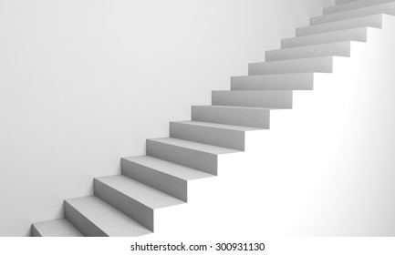 Abstract architecture background, white 3d stairs on the wall