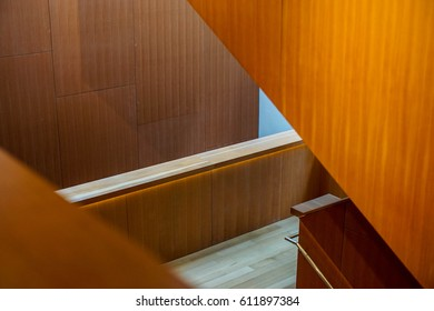 abstract architecture corridor in modern design building, made in wood