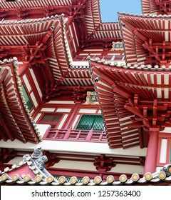 Abstract Architecture Details of the Sacred Tooth of Buddha Temple in Chinatown in Singapore