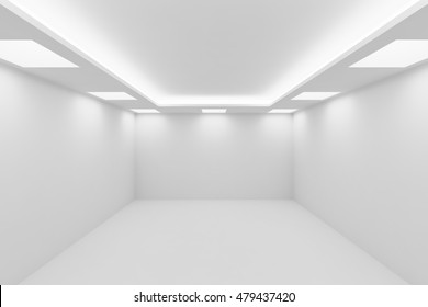 Abstract architecture white room interior - empty white room with white wall, white floor, white ceiling with square ceiling lights and hidden ceiling lamps and empty space, 3d illustration