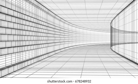 Abstract architecture wireframe structure 3D illustration isolated on white