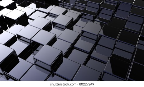 Abstract array of shinny cubes of different height