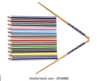 Abstract arrow constructed with pencils and chopsticks isolated over white background