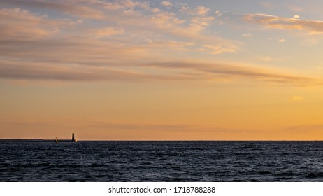 abstract, art, background, beautiful, big, blue, building, clouds, coast, coastal, color, distance, dusk, entrance, evening, harbor, harbour, horizon, landmark, landscape, light, lighthouse, minimalis