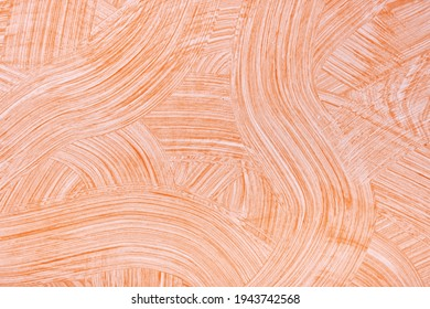 Abstract art background light orange and white colors. Watercolor painting on canvas with coral strokes and splash. Acrylic artwork on paper with brushstroke curly pattern. Texture backdrop.
