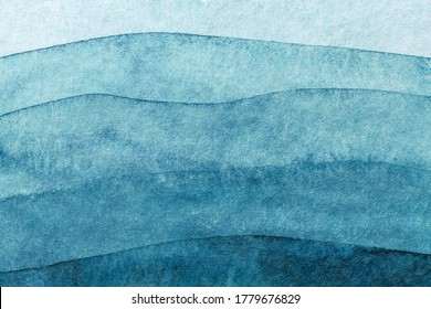 Abstract art background navy blue colors. Watercolor painting on canvas with turquoise pattern of sea waves. Fragment of artwork on paper with wavy line and gradient. - Shutterstock ID 1779676829