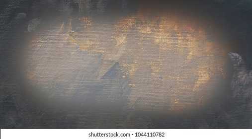 Abstract art background. Oil painting on linen  canvas. Blue, white, green, yellow brown texture. Dimmed horizontal picture fragment. Brushstrokes of cracked old paint.
