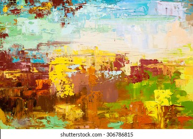 Abstract art  background. Oil painting on canvas. Blue and yellow  texture. Fragment of artwork. Spots of oil paint. Brushstrokes of paint. Modern art. Contemporary art.