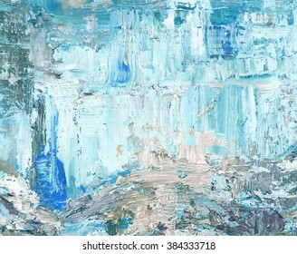 Abstract art background. Oil painting on canvas. Blue, white and brown texture.
